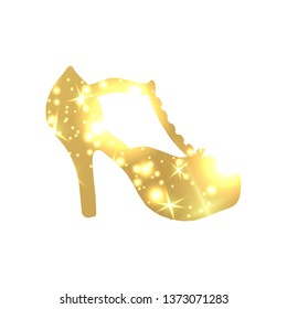 Golden Shoes Symbol with silhouette and gold shining lights. Creative Trendy Modern Fashion Shop Logo Template. Symbol Illustration on Black Background