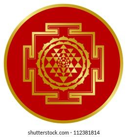 Golden Shree Yantra Design