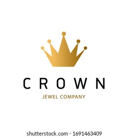 Golden sign crown king. Design modern logos princess crown for Business. Vector logotype isolated on white background.