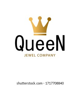 Golden sign crown queen. Design modern logos king crown for Business. Vector logotype isolated on white background.