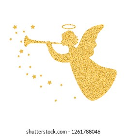Golden silhouette angel with stars isolated on white background. Vector illustration.