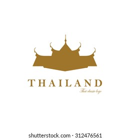 Golden silhouette logo of Thai multiple roof tiers on white background.(ESP10 art vector)