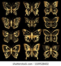 Golden silhouettes of butterflies. Set of golden isolated silhouettes. Decorative abstract design element. Vector illustration
