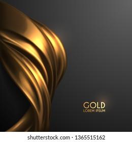 golden silk on black background