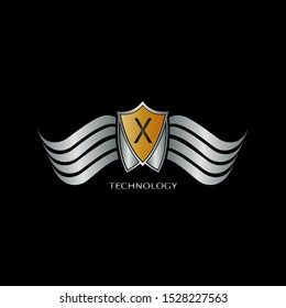 Golden and Silver Abstract Shield on Wing letter X  logo icon design concept for technology business or more brand identity.