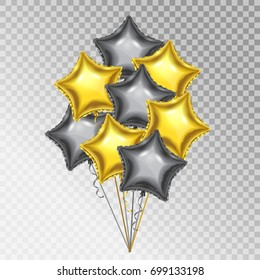 Golden and Silver Balloons. Star shape 3d vector balloons.