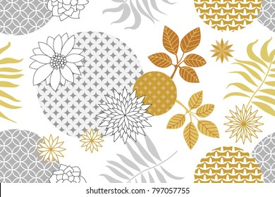 Golden and silver botanical pattern with Japanese motifs. Minimalism style. Abstract flowers and palm leaves on white background. Oriental textile collection.
