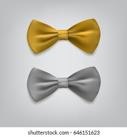 Golden and silver bow ties isolated on gray background. Vector illustration.