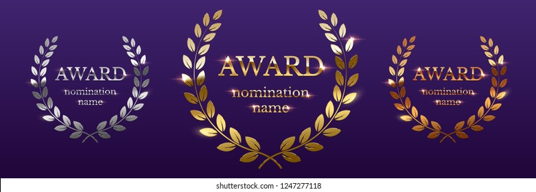 Golden, silver and bronze award signs with laurel wreath isolated on purple background. Vector award design templates