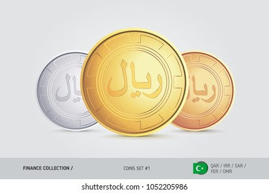 Golden, Silver and Bronze coins. Realistic metallic Islamic Rial coins set. Isolated objects on background. Finance concept for websites, web design, mobile app, infographics.