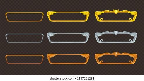 Golden, silver and bronze frames set. Vector assets for web or game design.