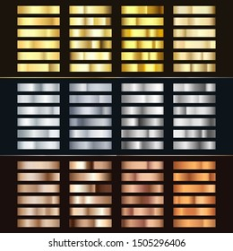 Golden Silver and Bronze gradient set. Collection of shiny bronze silvery and gold pattern. Realistic metallic foil. Vector illustration