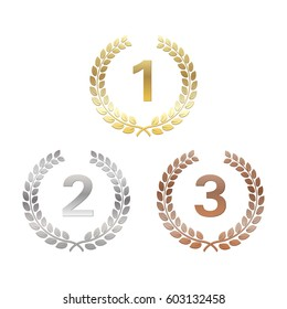 Golden, silver and bronze Laurel Wreaths. Awards for winners. Honoring champions. Signs for 1st, 2nd and 3rd places. Trophy for challenge. Vector illustration for posters, flyers, decoration.