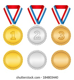 Golden, silver and bronze medals on white background, vector eps10 illustration