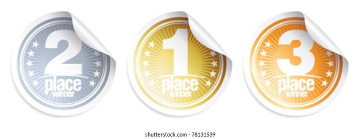 Golden, Silver, Bronze medals, winner stickers.
