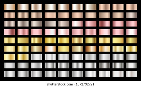 Golden, silver, bronze, rose gold gradients vector set. Metallic foil texture silver, steel, chrome, platinum, copper, bronze, pink gold gradient swatches. Shiny metallic collection graphic design