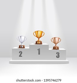 Golden and silver and bronze trophy cups stand on award podium realistic style, vector illustration on white background. First and second and third places winning prizes on ceremony pedestal