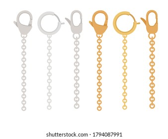 Golden and silver chain with claw clasp jewelry accessory flat vector illustration isolated on white background