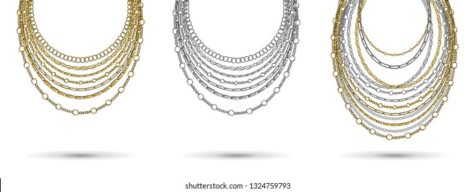 Golden and Silver Chain Neck Lace. Vector isolated on White Background with Stars and Glowing Lights. Trendy Accessory Illustration