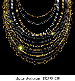 Golden and Silver Chain Neck Lace. Vector isolated on Black Background with Stars and Glowing Lights. Trendy Accessory Illustration