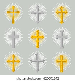 Golden and silver church cross icon set isolated on grey background vector illustration. Christianity religion symbol, catholic and orthodox holy crucifix sign, Jesus Christ symbol in flat design.