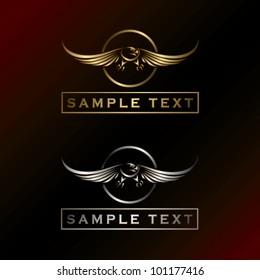 Golden and silver eagle label - vector illustration