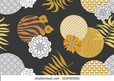 Golden and silver floral pattern with Japanese motifs. Minimalism style. Abstract geometric flowers, contrast zebra print and palm leaves on dark grey background. Oriental textile collection.