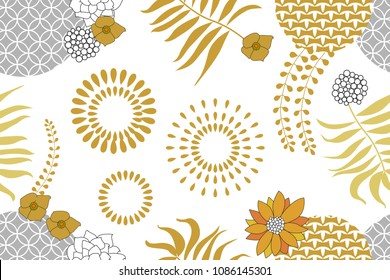 Golden and silver floral pattern with Japanese art motifs. Minimalism style. Abstract flowers, palm leaves and fans on white background. Oriental textile collection.