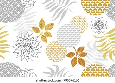 Golden and silver floral pattern with Japanese motifs. Abstract flowers, geometric ornaments and palm leaves on white background. Oriental textile collection.