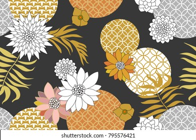 Golden and silver floral pattern with Japanese motifs. Abstract flowers and palm leaves on grey background. Oriental textile collection.