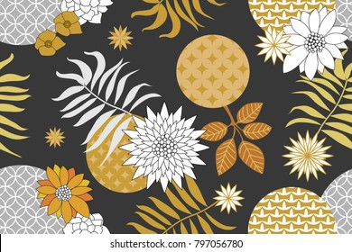Golden and silver floral pattern with Japanese motifs. Minimalism style. Abstract flowers and palm leaves on dark grey background. Oriental textile collection.