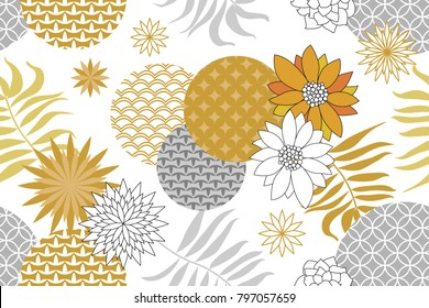 Golden and silver floral pattern with Japanese motifs. Minimalism style. Abstract flowers and palm leaves on white background. Oriental textile collection.