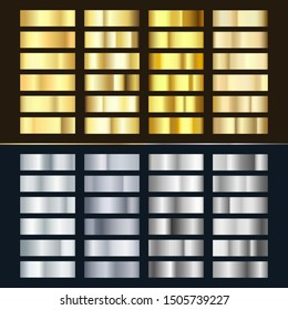 Golden and Silver gradient set. Various of shiny silvery and gold pattern. Realistic metalic foil. Vector illustration isolated on white background