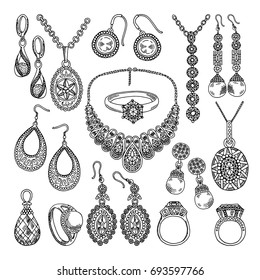 f5016d245 Golden and silver jewelry. Different diamonds and crystals. Hand drawing  illustrations jewelry drawing,