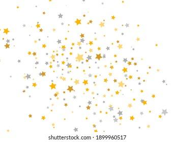 Golden and silver stars on white background. Celebration banner. Glitter elegant design elements. Gold shooting stars. Magic decoration. Christmas texture. Vector illustration.