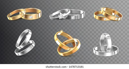 Golden and silver wedding rings decorated with precious stones on transparent background realistic vector Illustration
