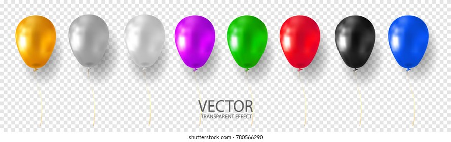 Golden, Silver, White, Grey, Purple, Blue, Cyan Red, Green, Black multicolored helium balloon set realistic vector stock illustration on transparent background. 3D shine balloon for Birthday party.