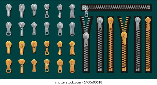 Golden and silver zippers and fasteners set. Vector Dye-to-Match Zippers for fashion design, prints etc. Cartoon pullers accessories for clothing, bags, shoes etc. Vector zippers collection
