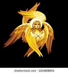 Golden six-winged seraphim monochrome on a black background