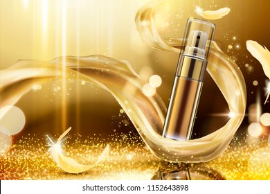 Golden skincare spray with weaving satin and feathers on shimmering background, 3d illustration