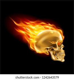 Golden Skull on Fire with Flames. Illustration of Speeding Flaming Skull from the Side on Black Background