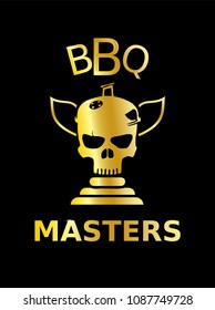 Golden skull trophy icon on a black backgrond, BBQ masters, vector illustration