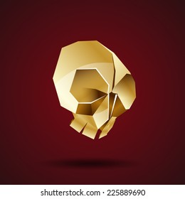 golden skull vector origami