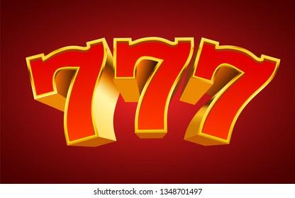 Golden slot machine 777 wins the jackpot. Big win concept. Vector illustration