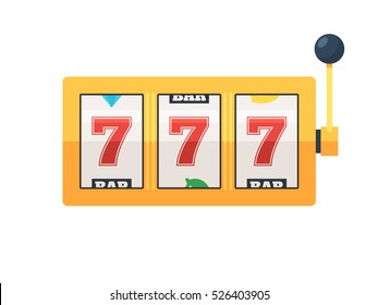 Golden slot machine with lucky sevens jackpot. Vector illustration isolated on white background