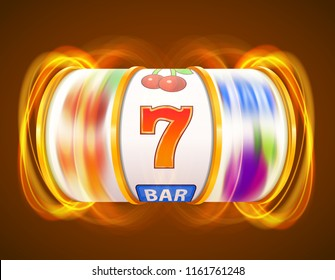 Golden slot machine wins the jackpot. Casino concept. Vector illustration