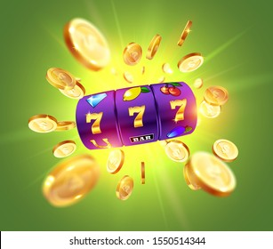 Golden slot machine wins the jackpot 777 on the background of an explosion of coins. Vector illustration