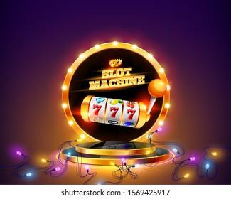 Golden slot machine wins the jackpot 777 on background of luminous garlands and retro frame on round podium. Vector illustration.