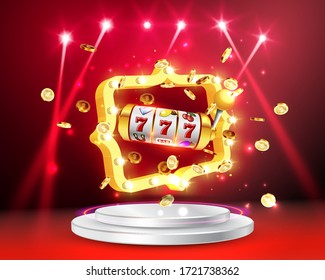 Golden slot machine wins the jackpot 777 on background of an explosion of coins and retro frame. Vector illustration. Round podium and retro frame illuminated by spotlights.