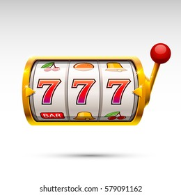 Golden slot machine wins the jackpot. Vector illustration isolated on white background